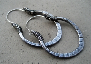 Sterling Silver Lotus Hoops