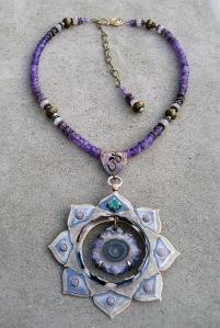 Eight Chakra Necklace Amethyst Slab