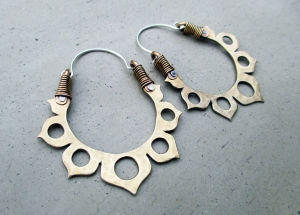 Lotus Flower Hoops in White Bronze by Silvia Peluso