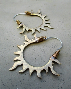 Sun Hoops White Bronze by Silvia Peluso