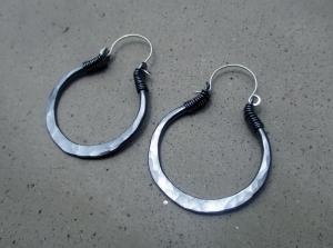 Black Gypsy Hoops Small by Silvia Peluso