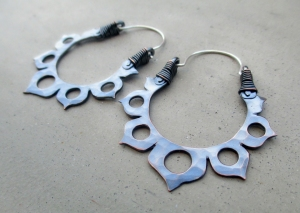 Black Lotus Flower Hoops by Silvia Peluso