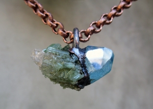 Green Tourmaline with Kunzite and Aqua Aura by Silvia Peluso