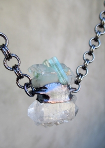 Green Tourmaline and Barnacle Clear Quartz by Silvia Peluso