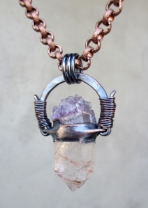Amethyst Angel Hair Pendant by Silvia Peluso