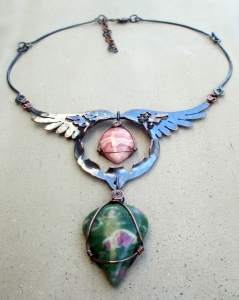 Angel Wing with Rhodocrosite and Ruby in Fuchite by Silvia Peluso