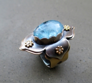 Lotus Ring with Aquamarine by Silvia Peluso