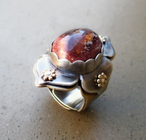 Lotus Ring with Fire Opal by Silvia Peluso