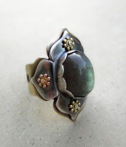 Lotus Ring with Labradorite by Silvia Peluso