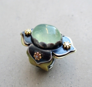 Phrenite Lotus Ring by Silvia Peluso