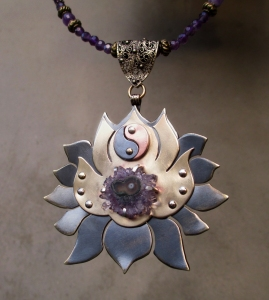 Crown Chakra Ncklace with Amethyst Stalactite by Silvia Peluso