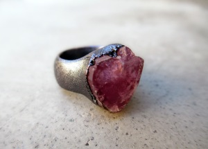 Pink tourmaline Heart Ring by Silvia Peluso