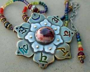 Seven Chakra Necklace with Fire Opal by Silvia Peluso