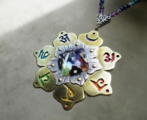 Seven Chakra Necklace with Clear Quartz Pyramid by Silvia Peluso