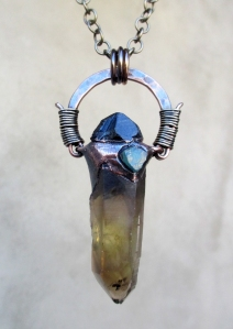 Smoky Citrine Black Tourmaline Blue Apatite Pendant by Silvia Peluso