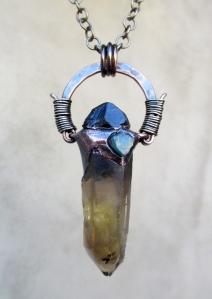 Smoky Citrine Black Tourmaline Blue Apatite Pendant by Silvia Peluso