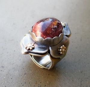 Lotus Ring Fire Opal by Silvia Peluso