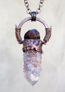 Spirit Quartz Garnet Pink Tourmaline Amulet by Silvia Peluso