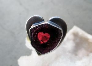 Watermelon Tourmaline Heart Ring by Silvia Peluso