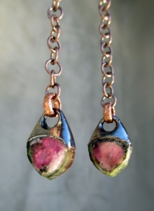 Watermelon Tourmaline Earrings by Silvia Peluso
