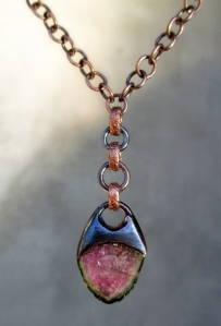 Watermelon Tourmaline Necklace by Silvia Peluso