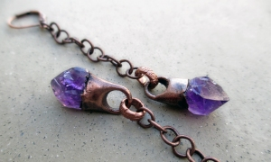 Amethyst Dangle Earrings by Silvia Peluso
