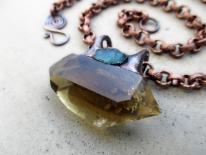 Tribal Choker with Double Terminated Citrine and Blue Apatite by Silvia Peluso