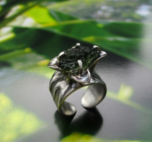 Moldavite Flower Ring by Silvia Peluso