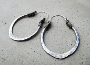 Lotus Petal Hoop Earrings in Sterling Silver by Silvia Peluso
