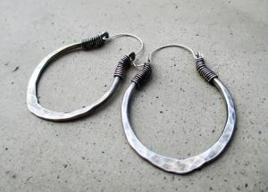 Lotus Petal Hoop Earrings in Sterling Silver by Silvia Peluso