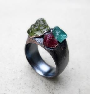Peridot Blue Apatite Pink Tourmaline Ring by Silvia Peluso