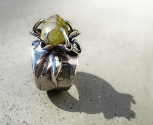 Rhodizite Flower Ring by Silvia Peluso