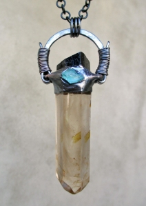 Smoky Citrine Blue Apatite Black Tourmaline Pendant by Silvia Peluso
