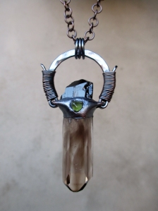 Protective Tribal Amulet with Smoky Quartz, Black Tourmaline, and Peridot by Silvia Peluso