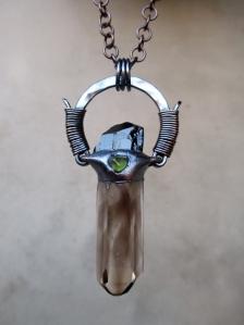 Protective Tribal Amulet with Smoky Quartz, Black Tourmaline, and Peridot by Silvia Peluso