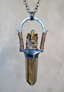 Golden Light Amulet with Smoky Citrine Wand, Tiger's Eye Ganesha, and Chrysocolla by Silvia Peluso