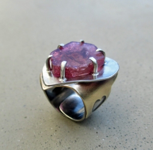 Watermelon Tourmaline Heart Ring by Silvia Peluso