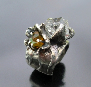 Fire Opal Herkimer Ring by Silvia Peluso