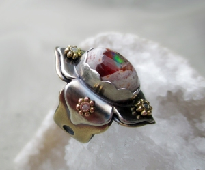 Fire Opal Lotus Ring by Silvia Peluso