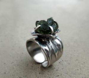 Flower Ring Moldavite by Silvia Peluso