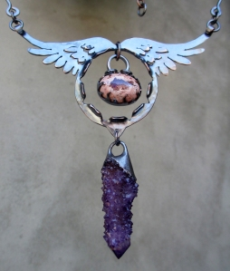Angel Wing with Fire Opal and Amethyst Spirit Quartz by Silvia Peluso