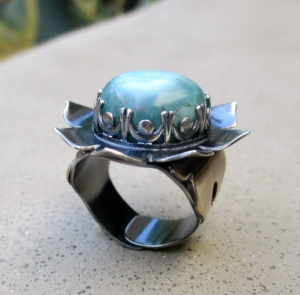 Bliss Ring with Larimar by Silvia Peluso