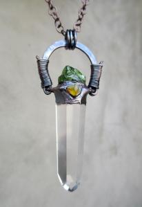 Clear Quartz Peridot Fire Opal Pendant by Silvia Peluso