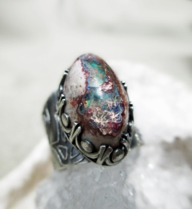 Fire Opal Lotus Band Ring by Silvia Peluso (2)