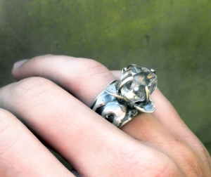 Flower Ring Herkimer Diamond by Silvia Peluso