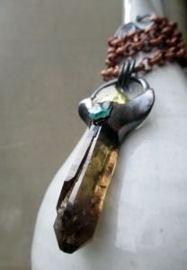 Smoky Quartz Sanidine Blue Apatite Angel by Silvia Peluso
