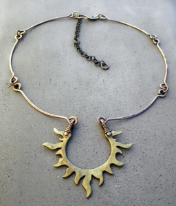 Sun Necklace Brass by Silvia Peluso