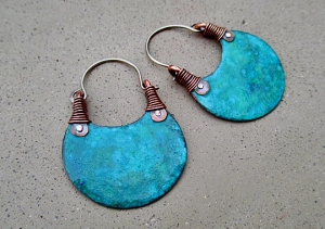 Turquoise Hoops Small by Silvia Peluso