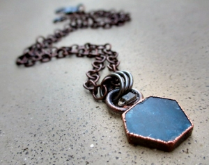 Throat Chakra Necklace with Blue Apatite and Tibetan Quartz by Silvia Peluso