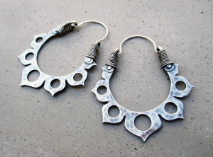 Lotus Flower Hoops Sterling Silver by Silvia Peluso
